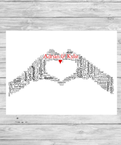 Bespoke Personalised Love Hands Word Art Print
