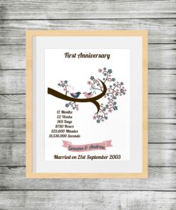 First Wedding Anniversary Personalised Print with Birds and Branch