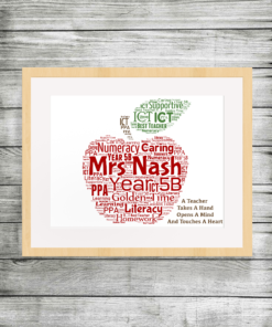 Bespoke Personalised Apple Teacher Word Art Print