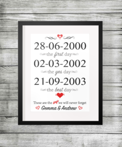 The days we will never forget personalised print