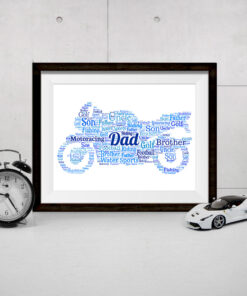 Bespoke Personalised Motorbike Word Art Print