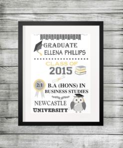 Personalised Graduation Details Owl Print