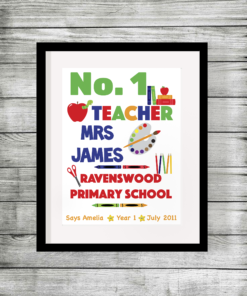 Number 1 Teacher Personalised Print for End of Term Gift