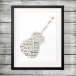 Personalised Guitar Shape Word Art Print