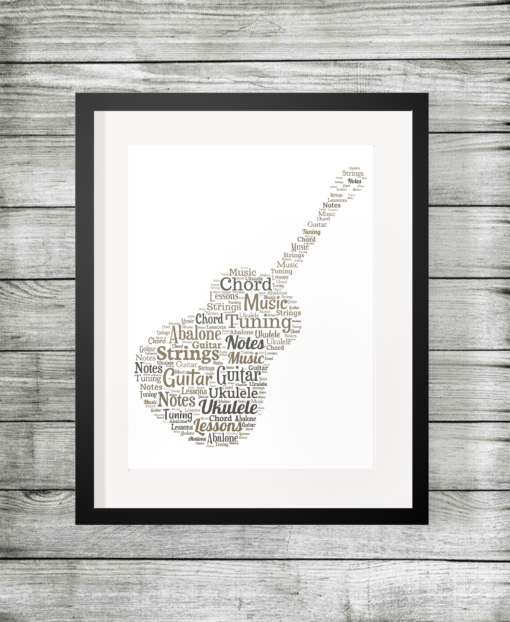 Bespoke Personalised Guitar Shape Word Art Print