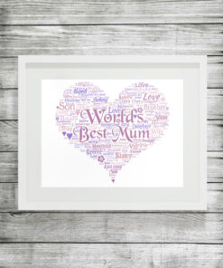 Bespoke Personalised Heart Word Art Print