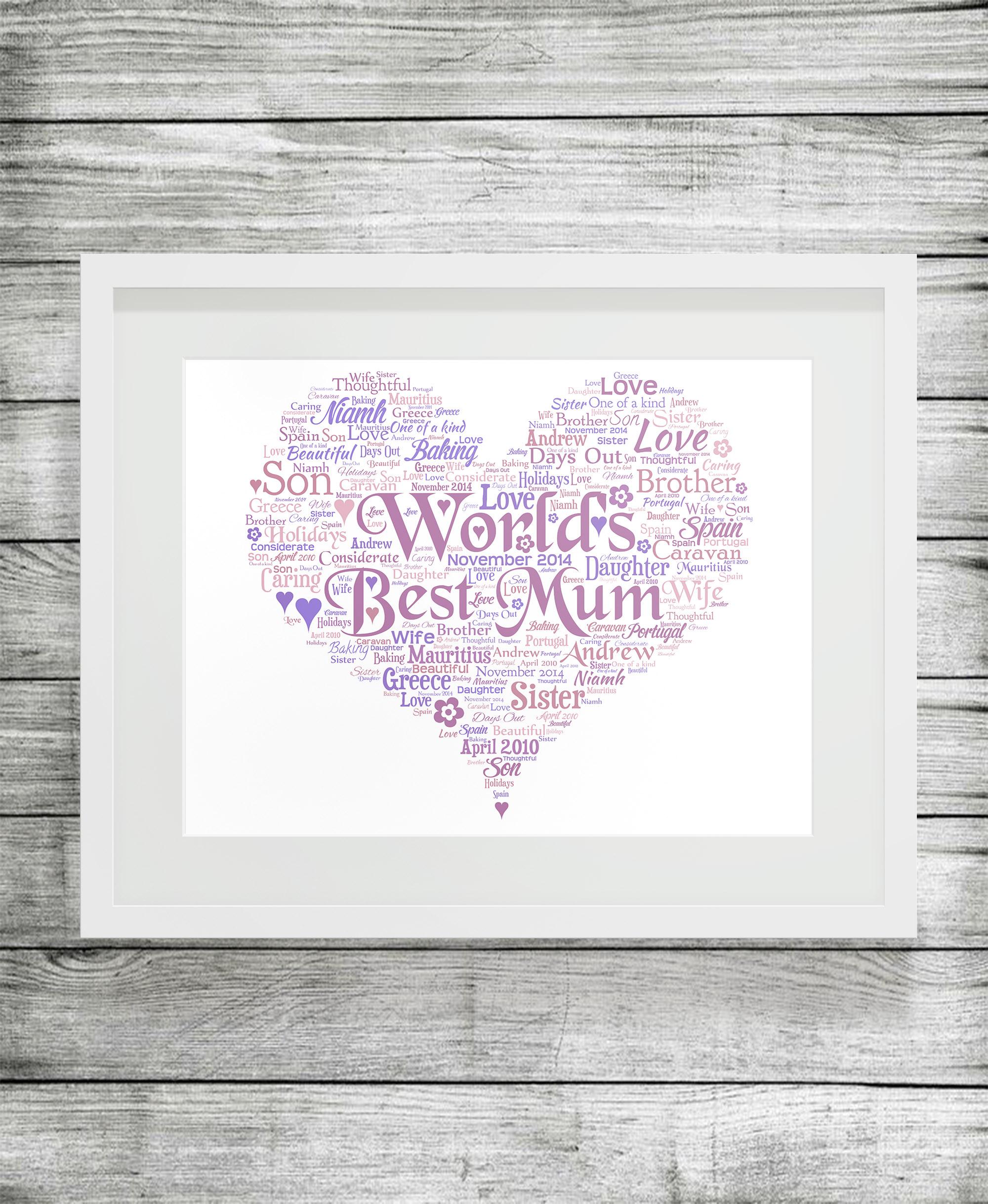 Bespoke Personalised Heart Word Art Print