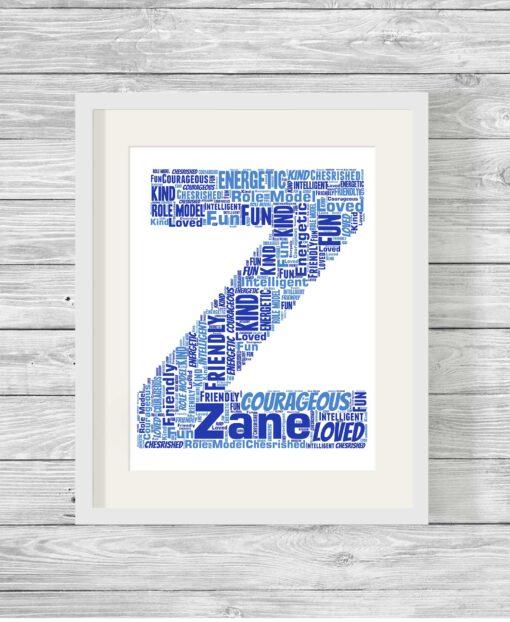 Bespoke Personalised Alphabet Letter Word Art Print