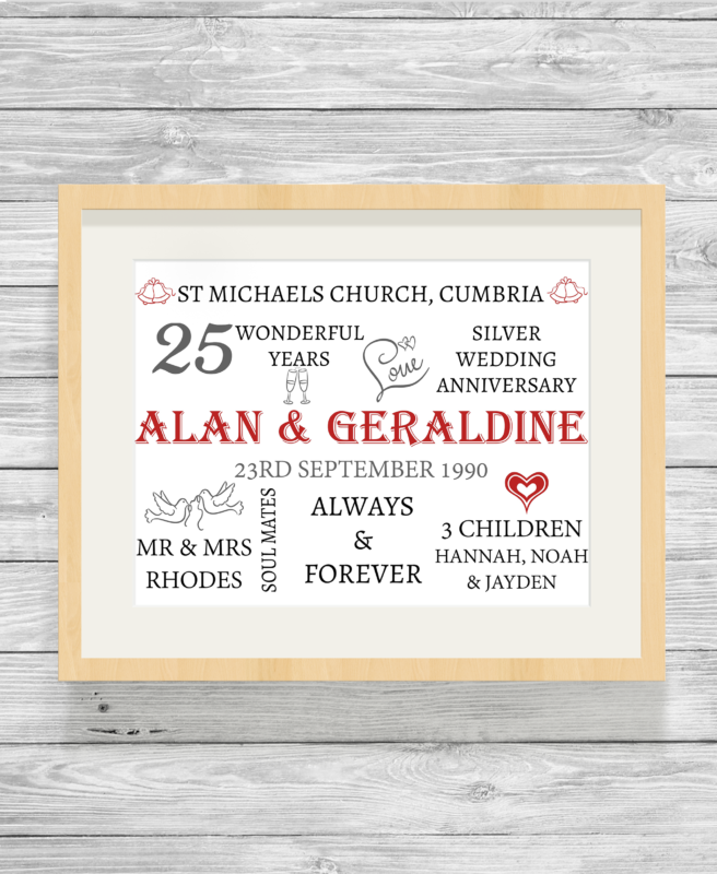 Bespoke Personalised Wedding Anniversary Word Art Print