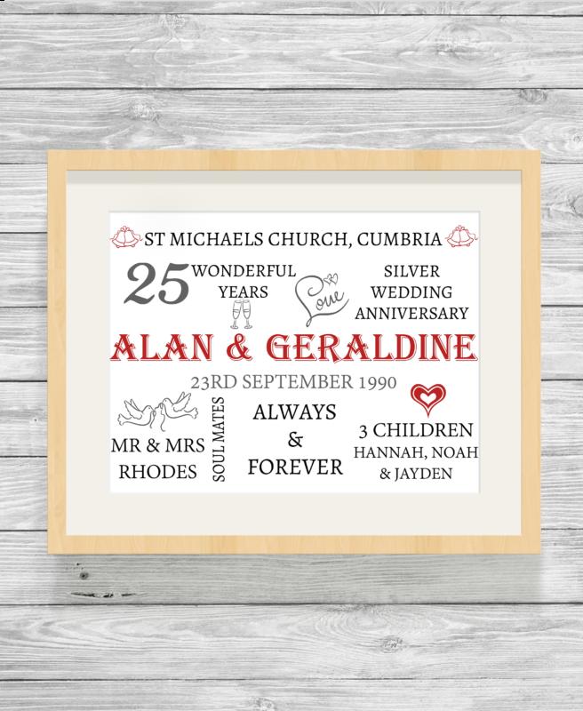 Bespoke Personalised Wedding Anniversary Word Art Print