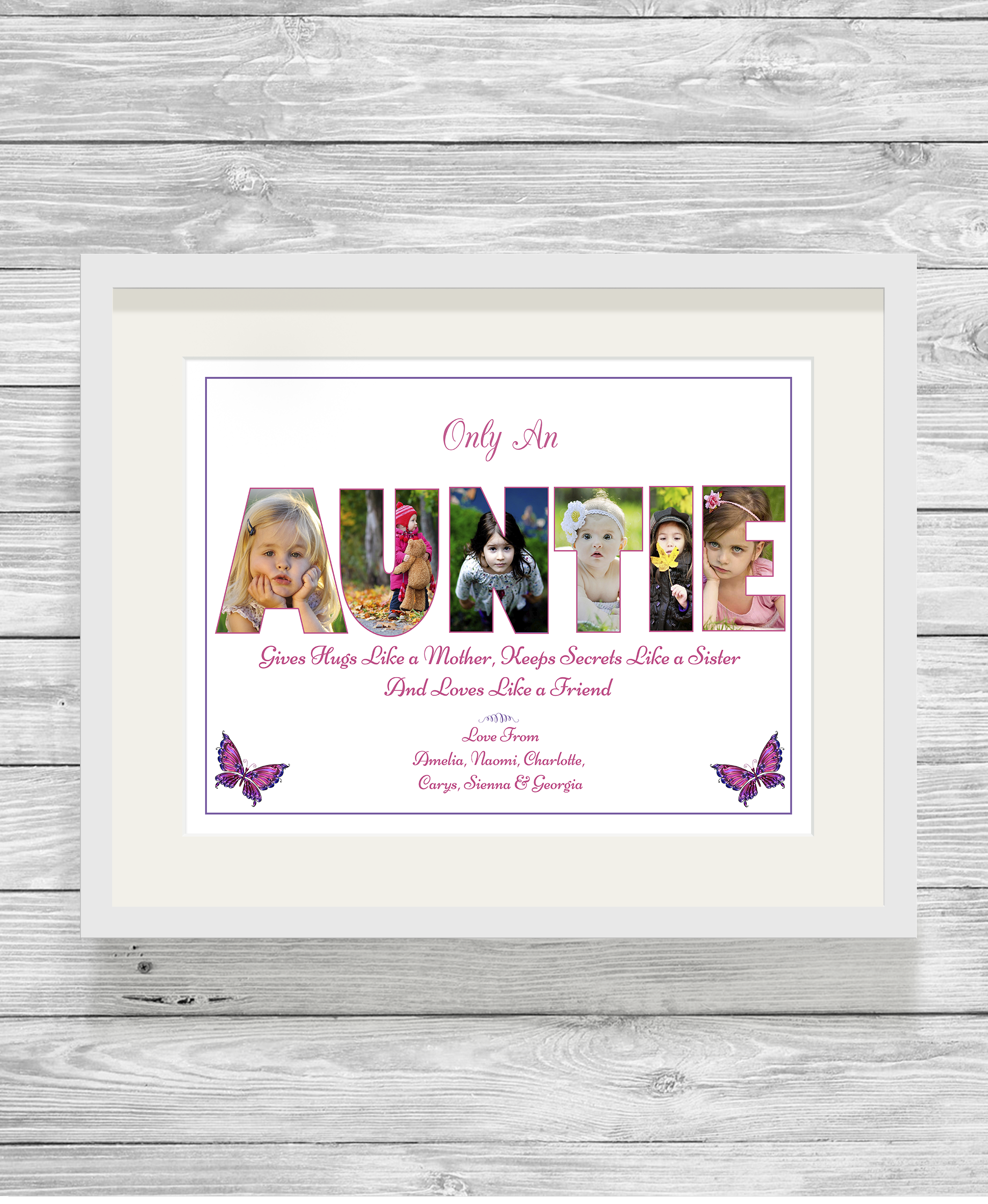 Bespoke Personalised Auntie Photo Collage Prints - Show It With Words