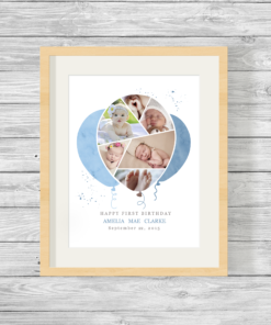 Bespoke Personalised Balloon Shape Photo Collage Print Blue