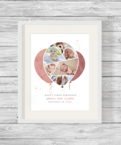 Bespoke Personalised Balloon Shape Photo Collage Print Pink