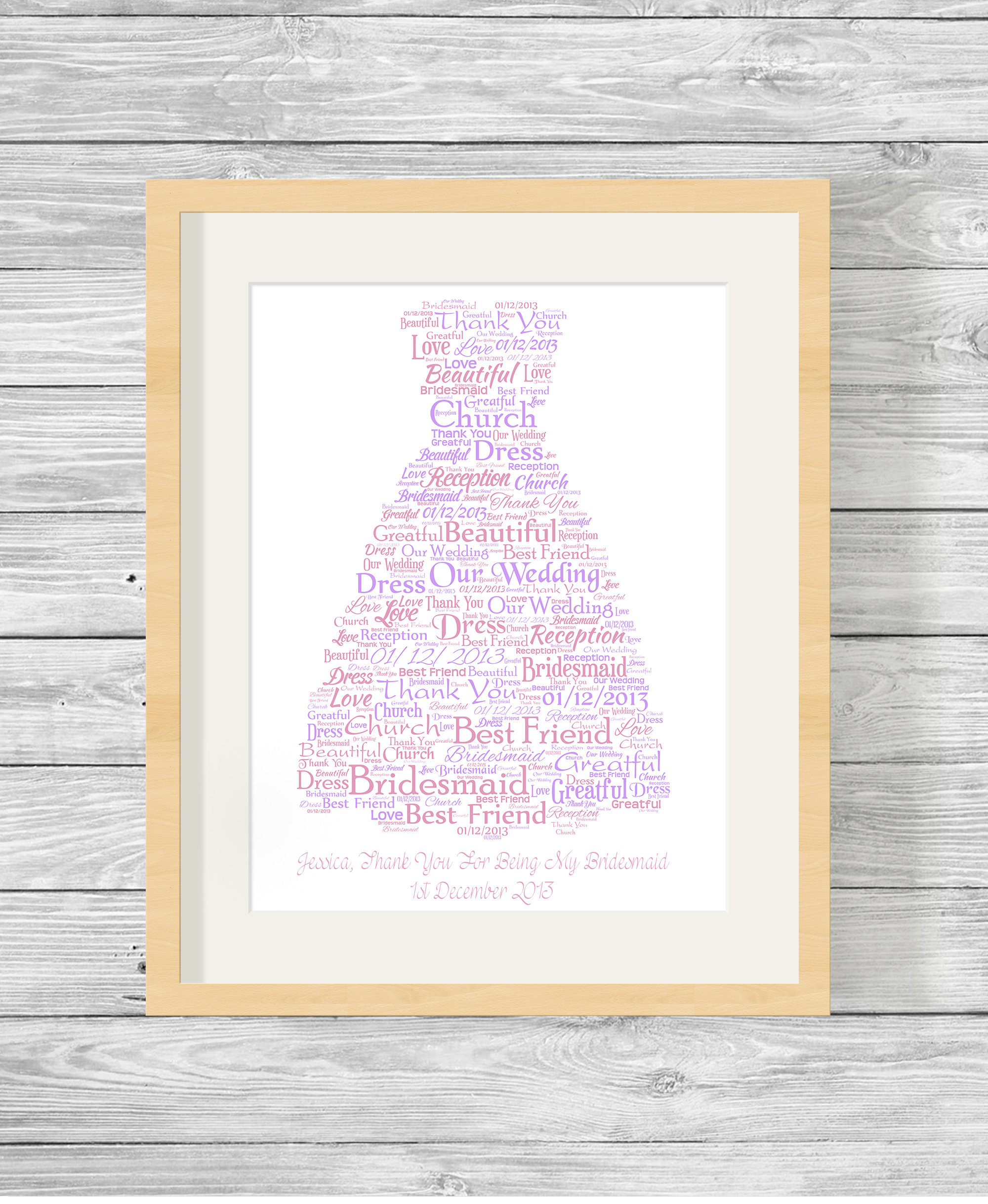 Bridesmaid or Prom Dress Bespoke Personalised Word Art Print - Show ...