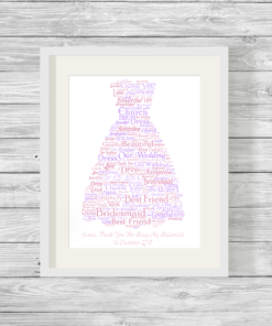 Bridesmaid or Prom Dress Bespoke Personalised Word Art Print