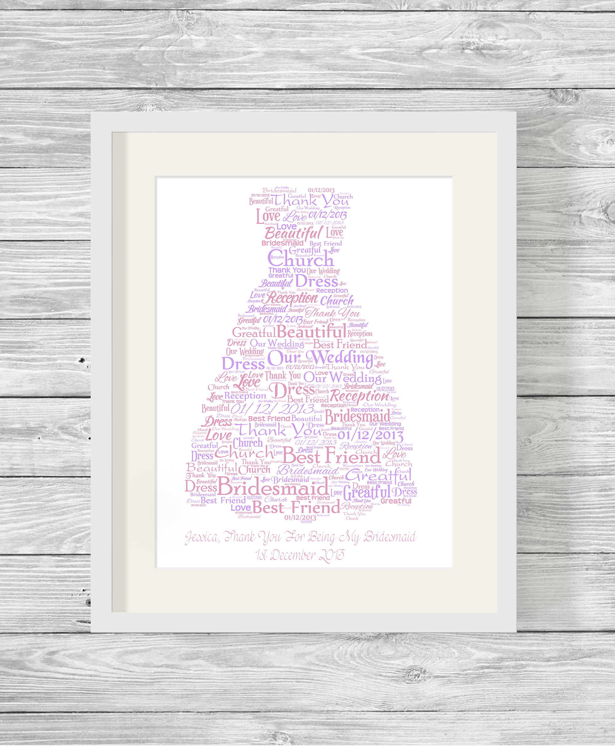 Bridesmaid Or Prom Dress Bespoke Personalised Word Art
