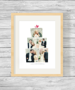 Bespoke Personalised Wedding Cake Shape Photo Collage Print