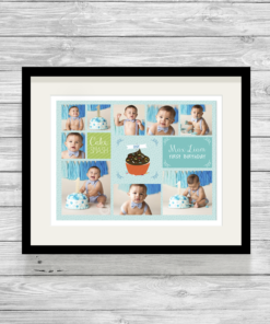 Bespoke Personalised Cake Smash Photo Collage Print Blue