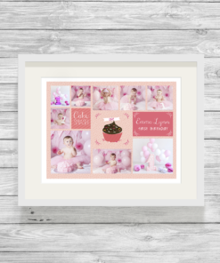 Bespoke Personalised Cake Smash Photo Collage Print in Pink