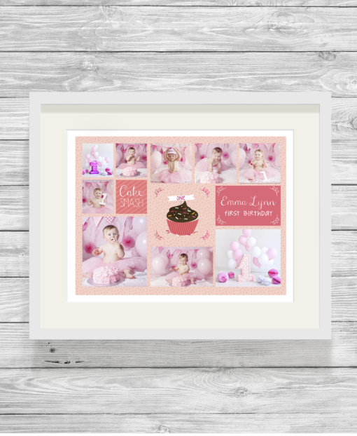 Bespoke Personalised Cake Smash Photo Collage Print in Pink