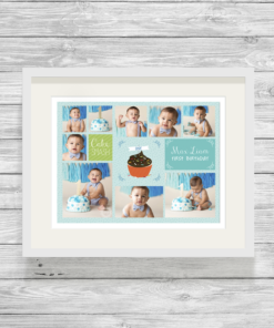 Bespoke Personalised Cake Smash Photo Collage Print in Blue