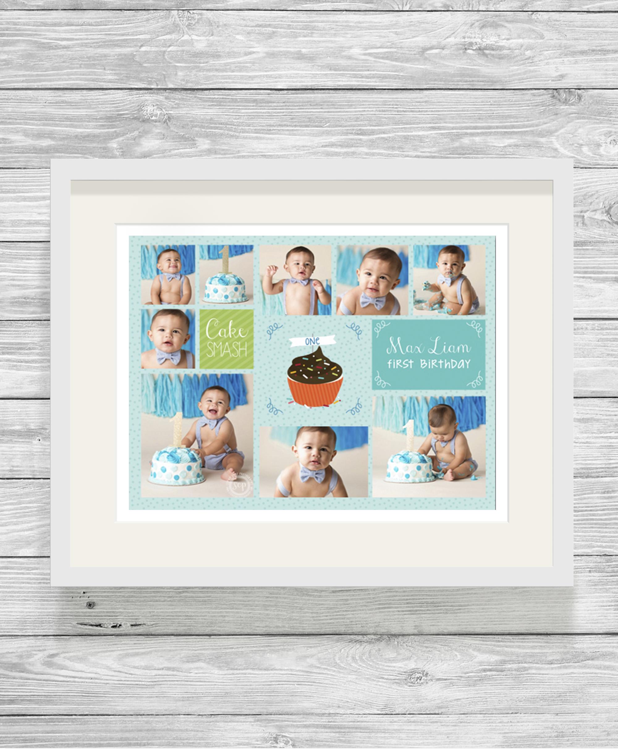 Cake Photo Printing Uk : Bespoke Personalised Cake Smash Photo Collage Print Blue