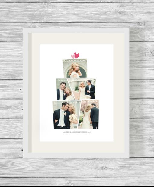 Bespoke Personalised Wedding Cake Shape Photo Collage Print