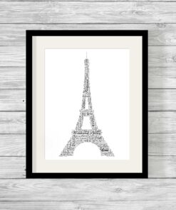 Eiffel Tower Design Personalised Word Art Print