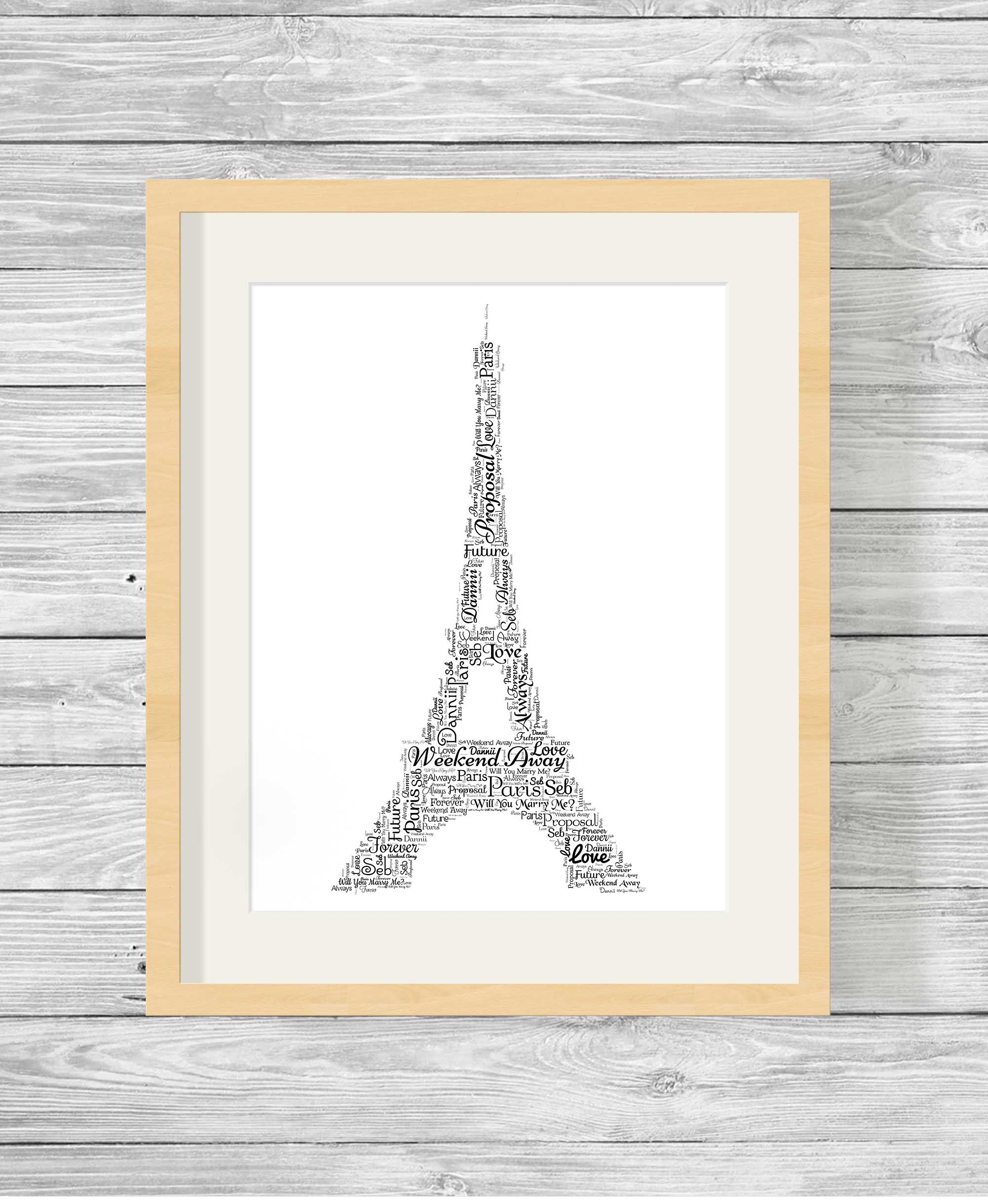Bespoke Personalised Eiffel Tower Word Art Print Gift