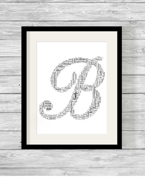 Alphabet Shape Design Personalised Word Art Print