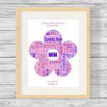 Flower Design Personalised Word Art Framed Print