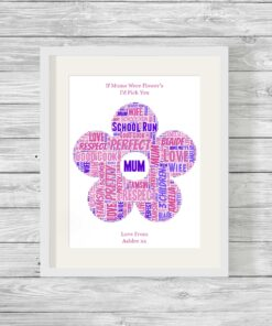 Flower Design Personalised Word Art Framed Print
