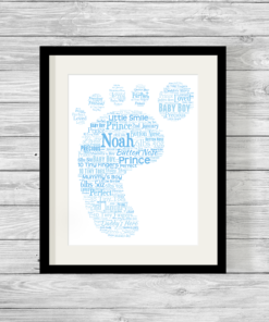 Bespoke Personalised Blue Baby Footprint Word Art Print