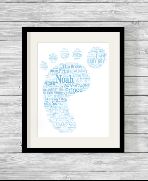 Bespoke Personalised Blue Baby Footprint Word Art Print