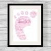 Bespoke Personalised Pink Baby Footprint Word Art Print