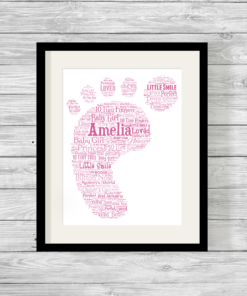 Bespoke Personalised Pink Baby Footprint Word Art Print