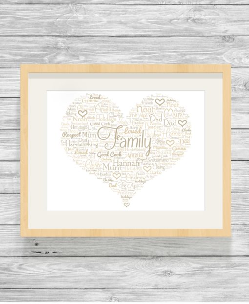 Fancy Heart Design Personalised Word Art Print