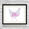 Bespoke Personalised Hen Word Art Print