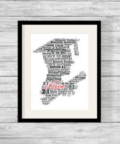 Male Silhouette Personalised Graduation Word Art Print