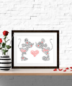 Mickey and Minnie Personalised Word Art Print