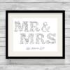 Bespoke Personalised Mr & Mrs Word Art Print