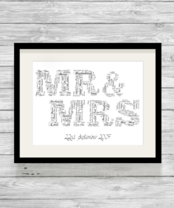 Bespoke Personalised Mr & Mrs Word Art Print