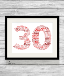 Bespoke Birthday Number Personalised Word Art Print