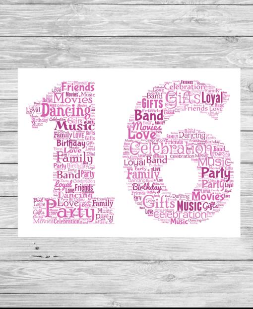 Bespoke Birthday Number Personalised Word Art Print
