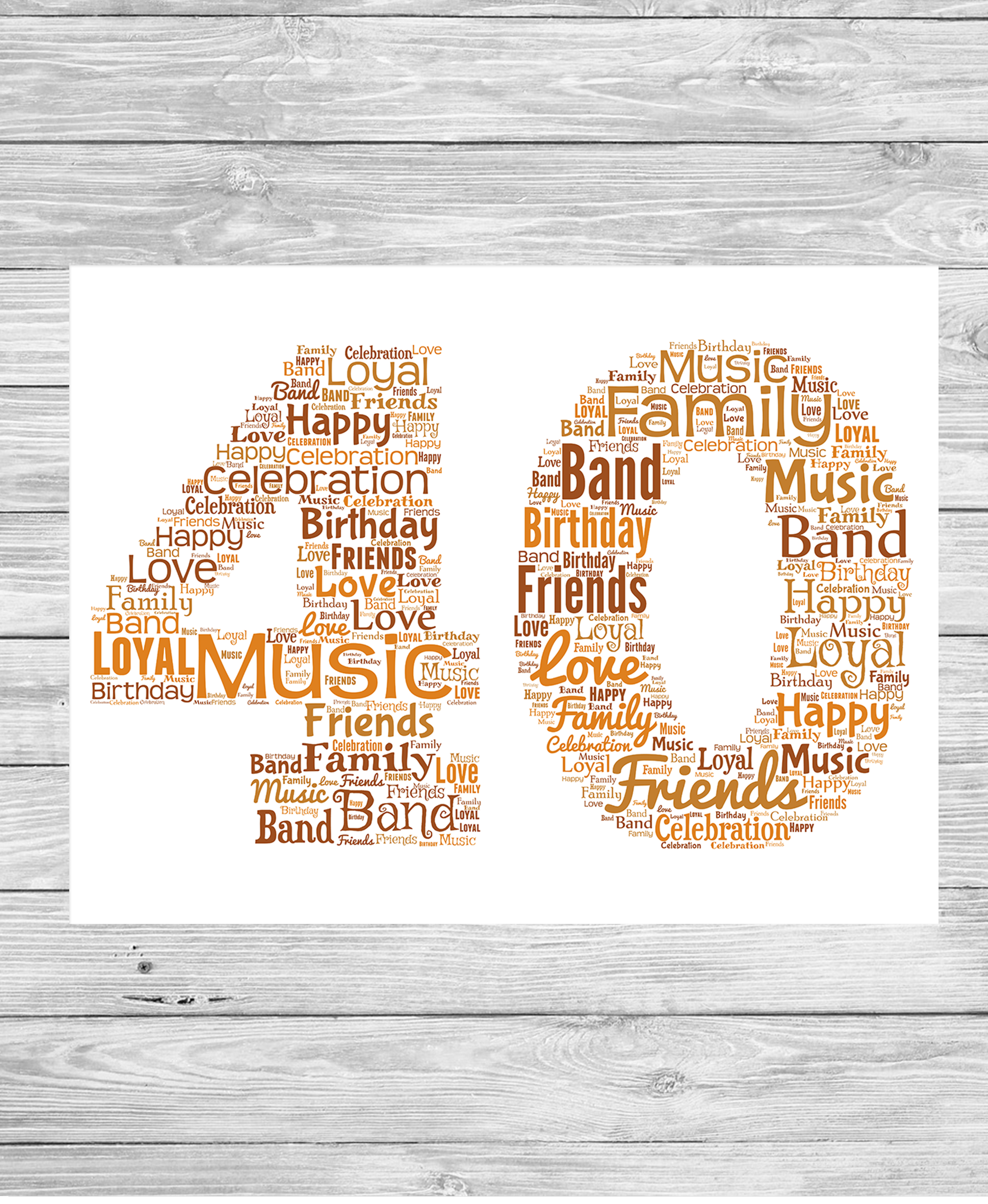 Bespoke Birthday Number Personalised Word Art Print - Show It With Words