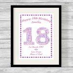 Birthday Number Personalised Word Art Print Heart Border