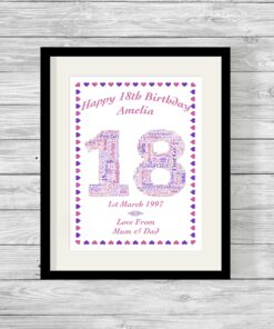 Birthday Number Personalised Word Art Print Heart Border