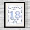 Birthday Number Personalised Word Art Print Stars Border