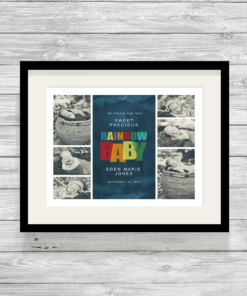 Bespoke Personalised Rainbow Baby Photo Collage Print