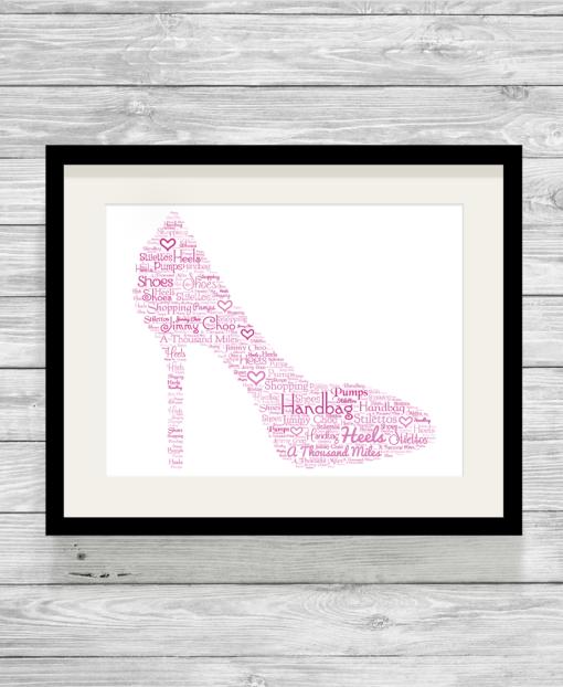 Bespoke Personalised Shoe Word Art Print